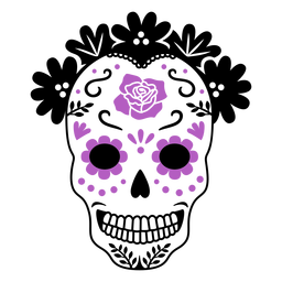 Purple sugar skull color stroke