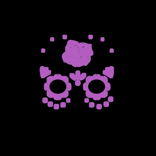 Trazo de color de calavera de azúcar púrpura