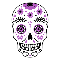 Purple sugar skull flowers color stroke