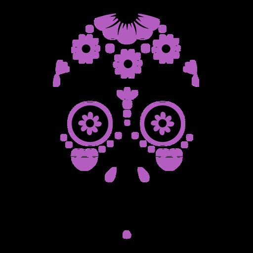 Trazo de color de flores de calavera de azúcar púrpura