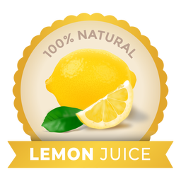 Realistic lemon juice label