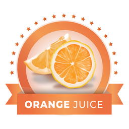 Realistic orange juice label