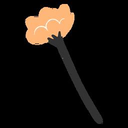Single orange flower branch flat