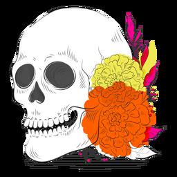 Dibujado a mano esqueleto flores coloridas