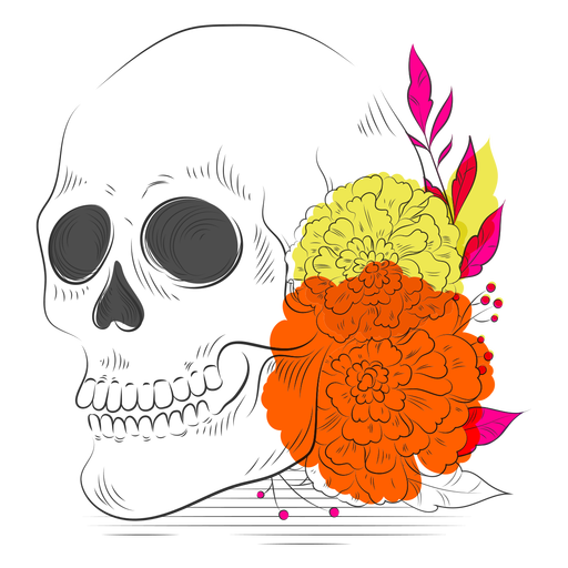 Skeleton colorful flowers hand drawn