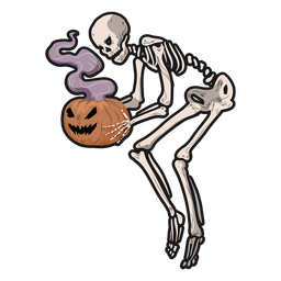Skeleton holding pumpkin sticker