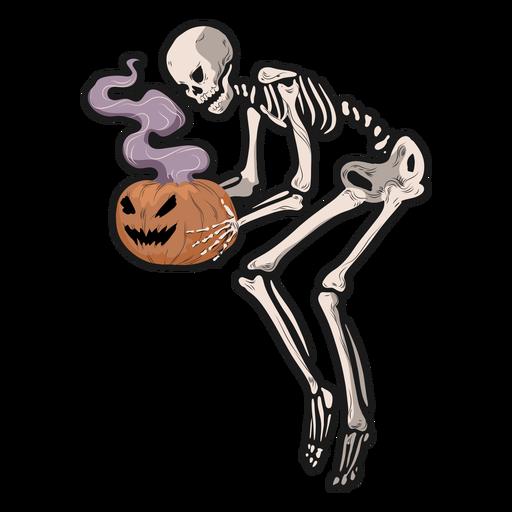 Skeleton holding pumpkin sticker