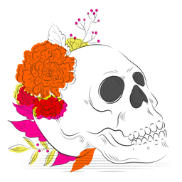 Skull colorful flowers hand drawn