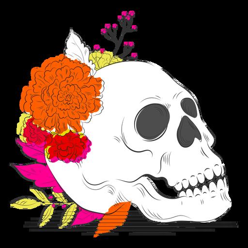Dibujado a mano cr?neo flores de colores