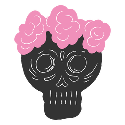 Skull flower crown pink and black