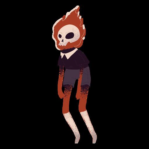 Skull on fire creature textured