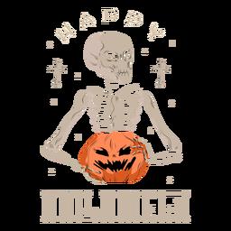 Skull pumpkin halloween badge