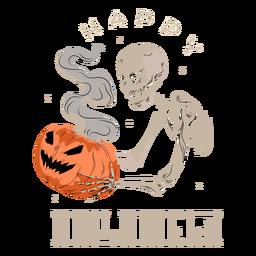 Skull pumpkin smoke badge