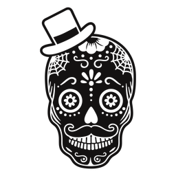 Skull top hat cut out