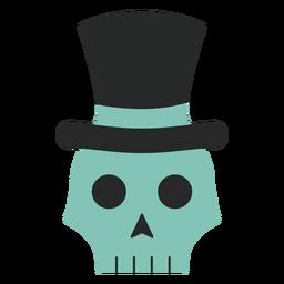 Skull top hat flat