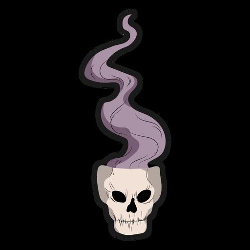 Pegatina calavera con humo