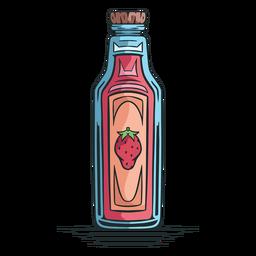 Dibujado a mano botella de jugo de fresa