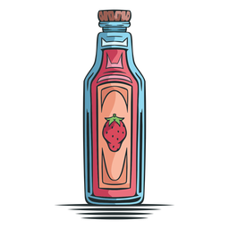 Strawberry juice bottle hand drawn