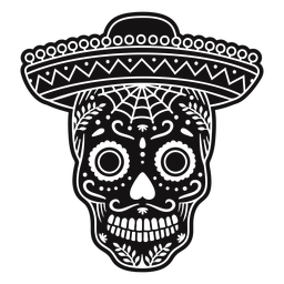 Sugar skull sombrero cut out