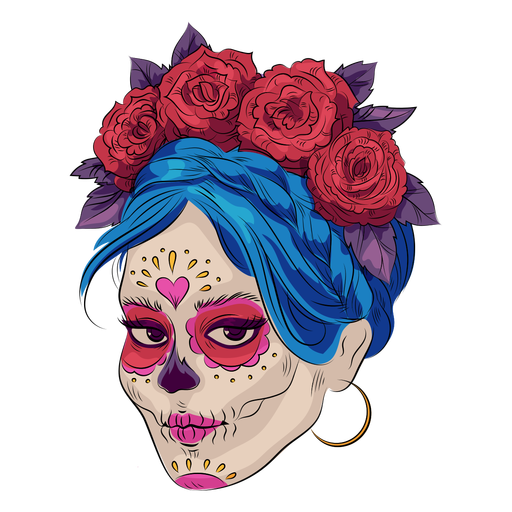 Sugar skull make up illustration Transparent PNG
