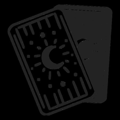 Cartas de tarô lua traço de halloween