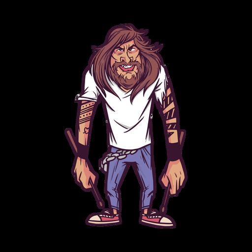 Personagem baterista tatuado