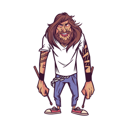 Tattooed drummer character Transparent PNG