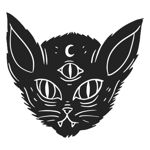 Drei Augen Katzen Halloween ausgeschnitten