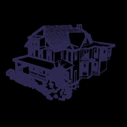 Dibujado a mano casa de tres pisos