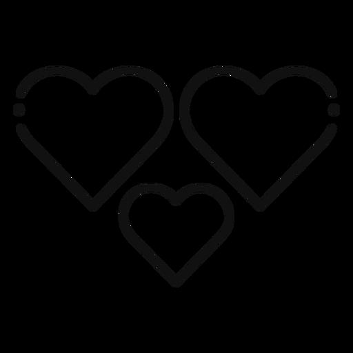 Three hearts icon