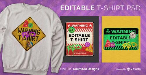 Sinal de aviso escalável t-shirt psd