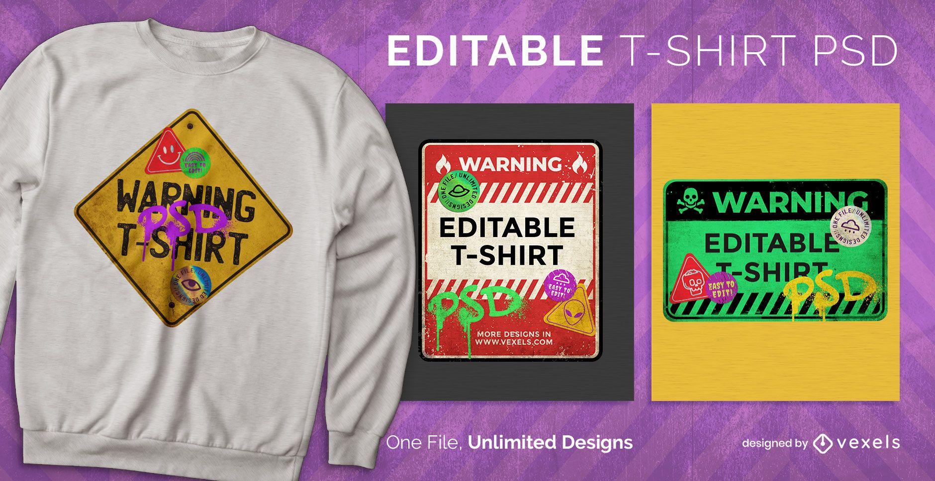 Señal de advertencia camiseta escalable psd