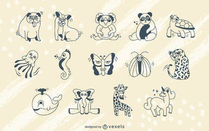 Cartoon animals stroke set