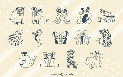 Cartoon Tiere Schlaganfall gesetzt