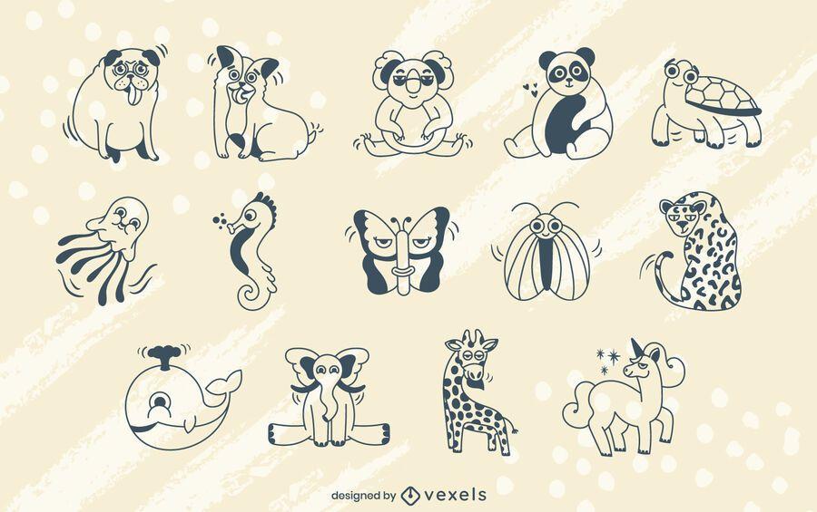 Cartoon animals stroke set
