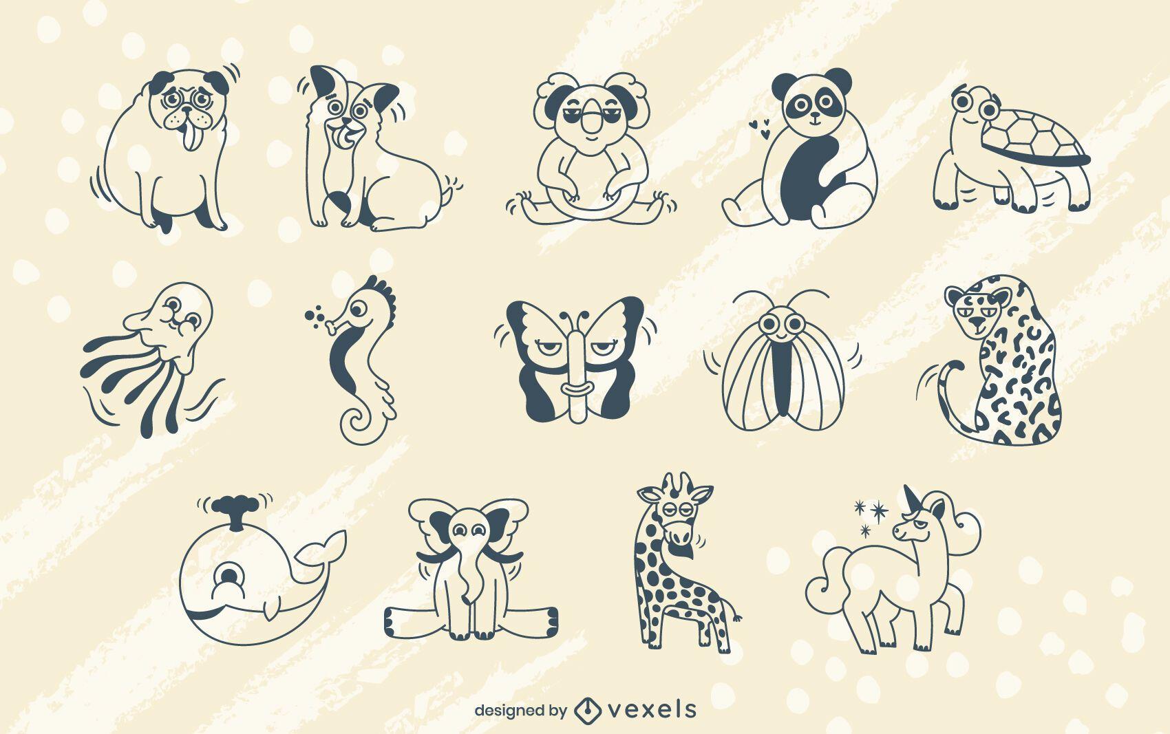 Conjunto de trazos de animales de dibujos animados