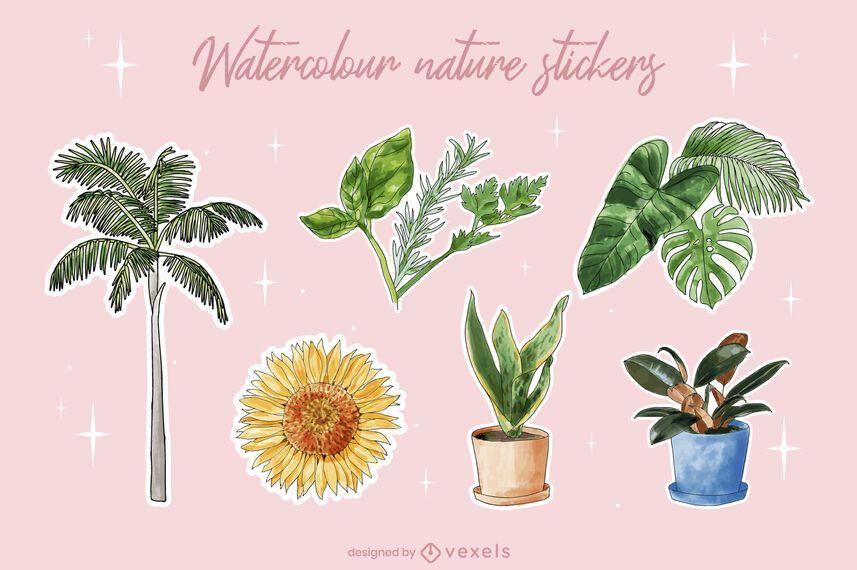 Watercolor plants sticker set