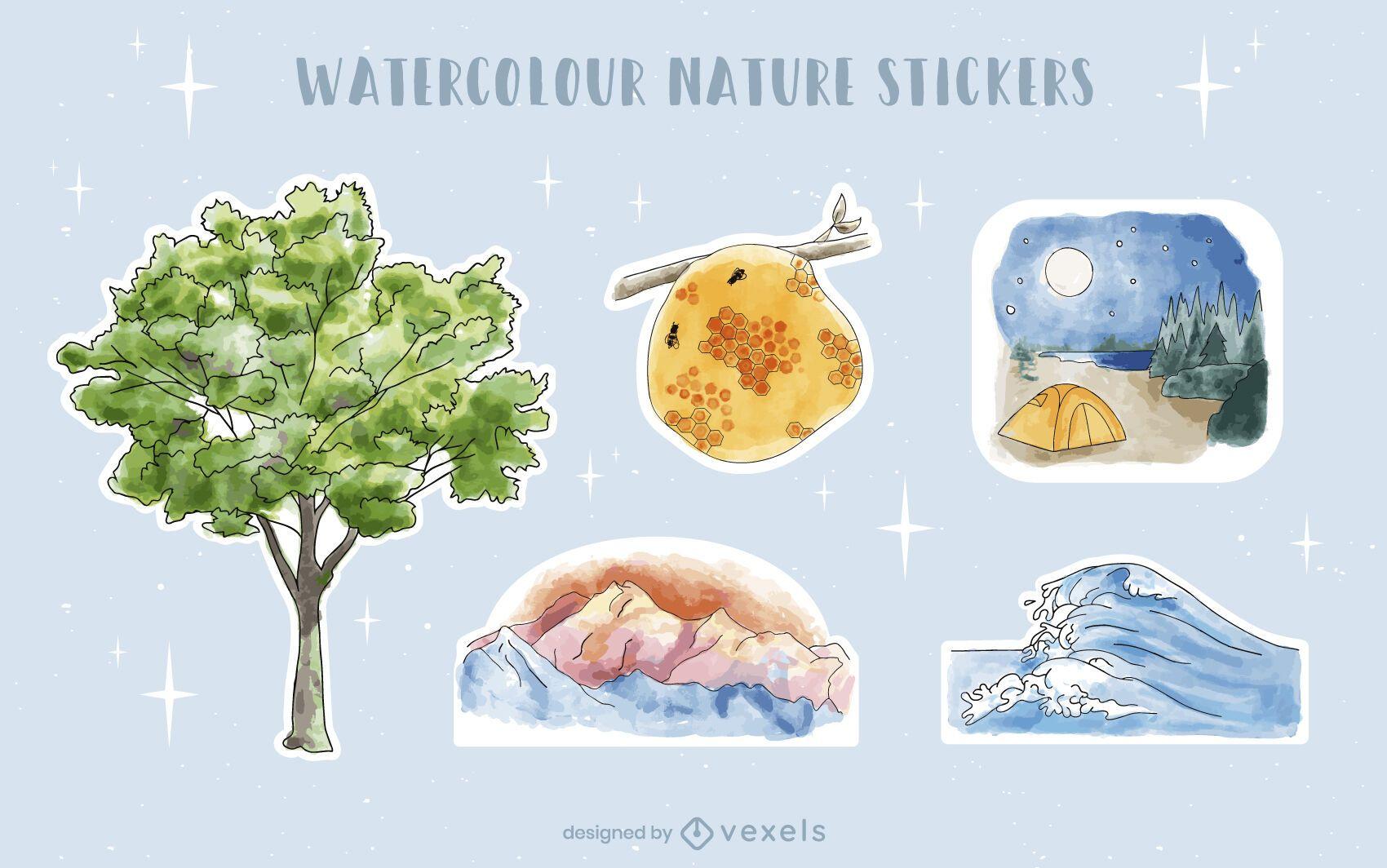 Conjunto de adesivos de natureza aquarela