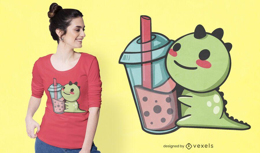 Dinosaur with bubble tea t-shirt design