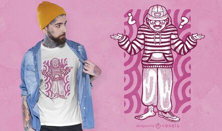 Diseño de camiseta hombre confundido