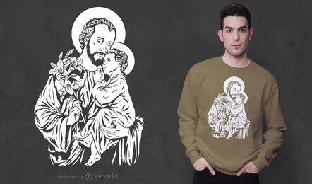Joseph and jesus t-shirt design