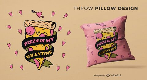 Pizza valentine throw pillow design