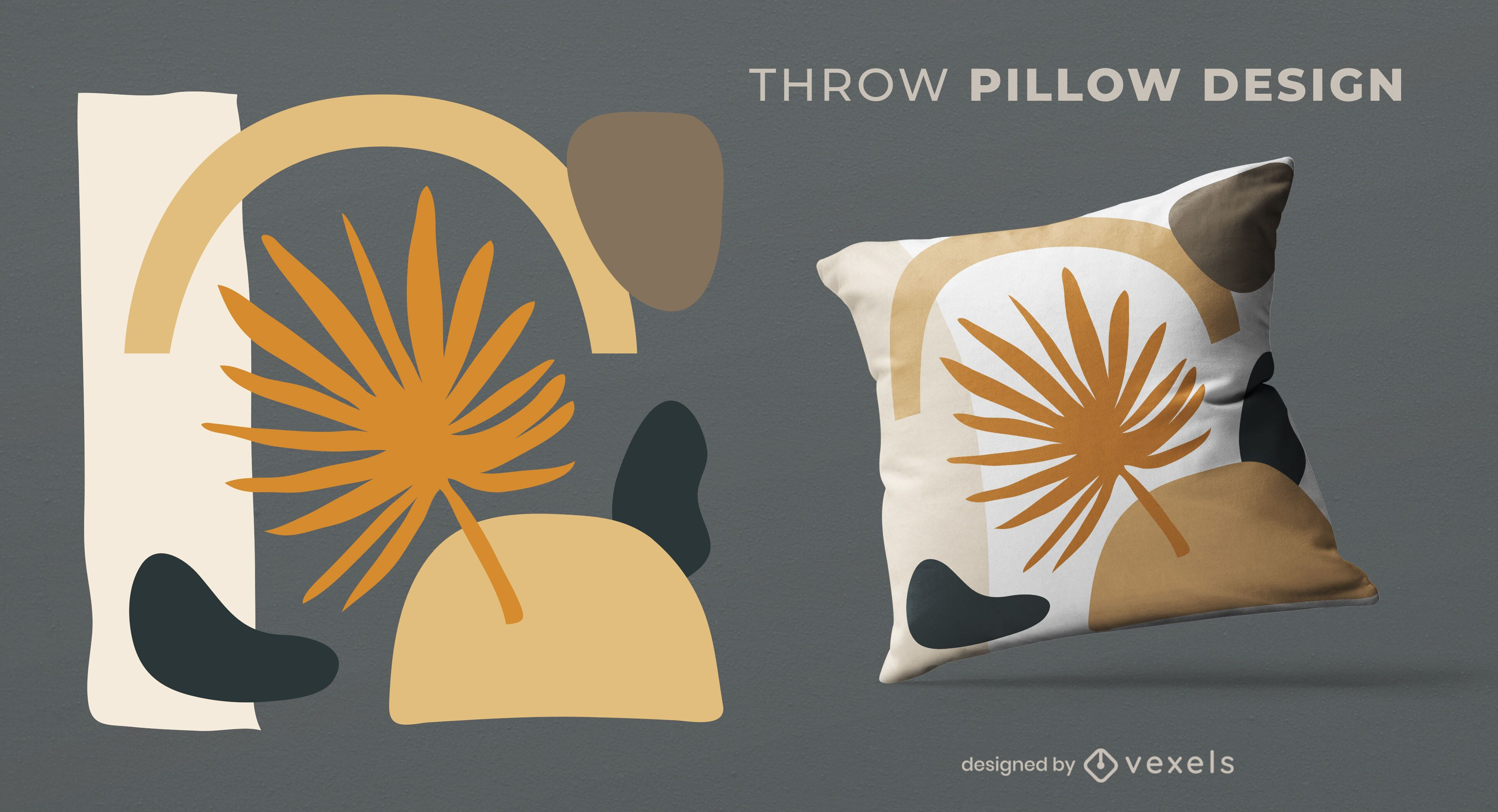 Abstract leaf shapes throw pillow design