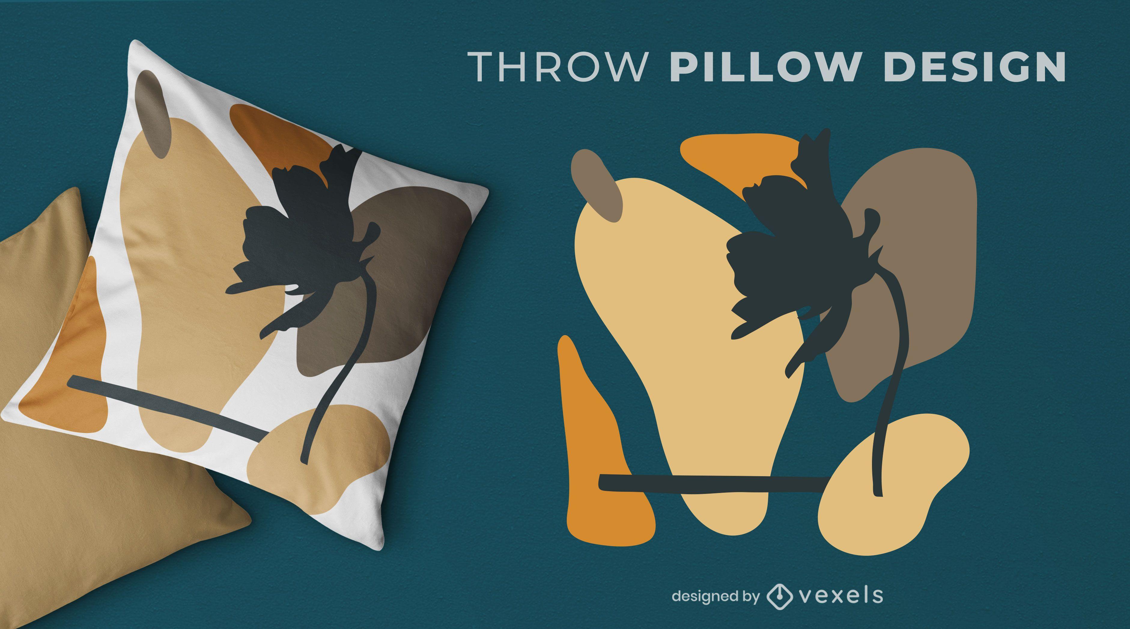 Flower shapes throw pillow design
