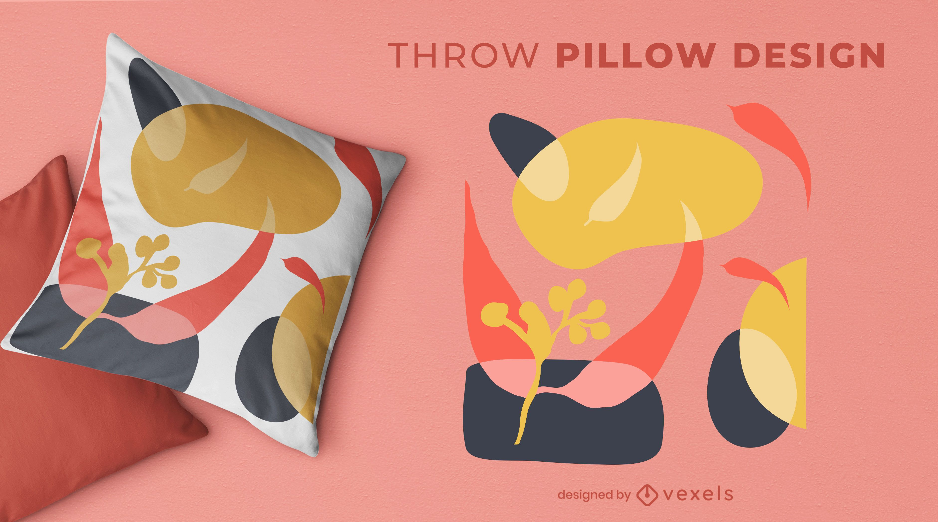 Diseño de almohada de tiro orgánico abstracto