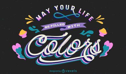 Vida llena de diseño de letras de colores