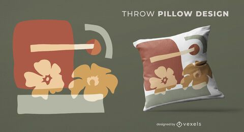 Abstract flowers throw pillow design