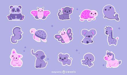 Conjunto de adesivos de animais kawaii