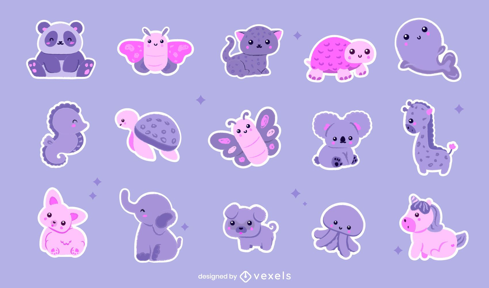 Kawaii animals sticker set
