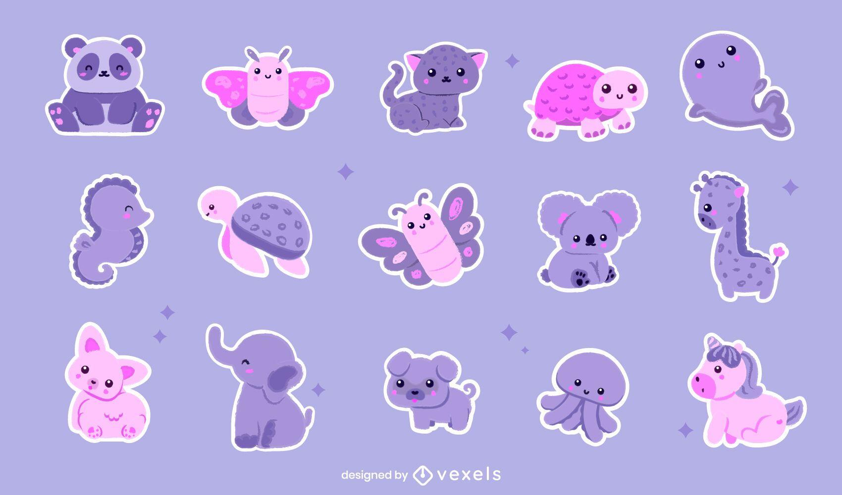 Set de pegatinas de animales kawaii